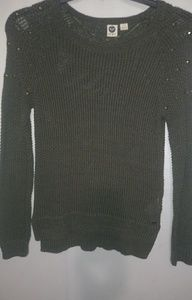 ROXY Olive Bradded Sweater Size Medium